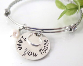 Love You More Bracelet - Sterling Silver Expandable Bracelet - Gift for Her - Gift for Daughter - Gift for Mom - Hand Stamped Jewelry