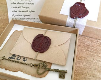 Long distance boyfriend gift, Personalized Message in a box, Military Love, Miss you gift, Thinking of you, Key to your heart Custom letter
