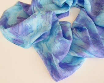 Blue Infinity Scarf, Hand Painted Blue Silk Infinity Scarf, Blue Silk Scarf, Purple Silk Scarf, Infinity Scarf, Spring Scarf, Gift For Her