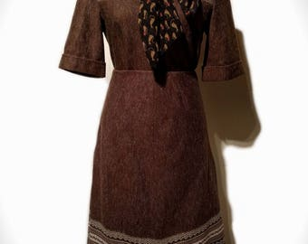 1960's/1970's St Michael Patterned Brown 2 Piece Skirt & Shirt