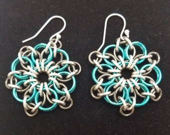 Celtic Sunburst  Blue and Silver Chainmaille Earring
