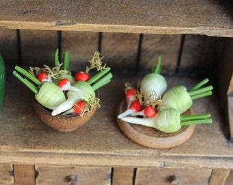 Turnips, radishes 12th scale dollshouse miniature garden vegetables. Tudor dollhouse garden, Medieval dolls house kitchen