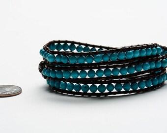 TURQUOISE LEATHER Wrap Bracelet- BOHO Style- Natural Stones- Yoga Jewelry