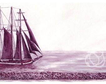 "Print: Wine Painting ~ ""Tall Ship"" using Cabernet Sauvignon"