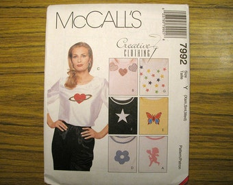 Vintage McCalls 7992 Pullover Top With Applique Sewing Pattern - XSmall, Small, Medium Misses Appliqued Top Pattern - Sewing Supplies