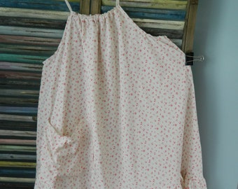 Heirloom's OOAK  rose ruffle heart shape pearl button tunic
