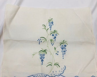 Vintage Embroidered Grape Flowers Tea Towel. Green Embroidered Vines and Blue Flowers in the shape of Grapes.