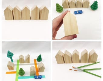Set of five DIY wood Houses pretend play storytelling child decor block area train table town city tiny home village wanderlust wood toy