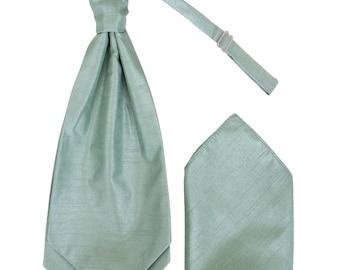 Mens Sage Green Luxury Dupion Scrunchie Cravat with matching Pocket Square Pre-Tied