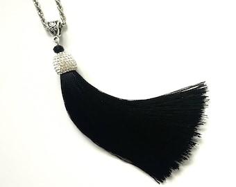 BLACK Long Tassel Necklace, Long Tassel Necklace, Black Boho Necklace, Gifts For Her, Gift Idea, Girlfriend Gift