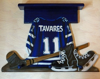 Custom Sports Jersey  wall hanging with 3 pegs and shelf with Sport of your choice
