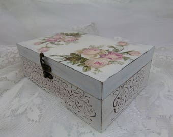 White Shabby Chic Pale Pink Roses Tea Box