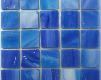 "20mm (3/4"") Periwinkle Blue Marbled STAINED GLASS Mosaic Tiles//Machine Cut Tiles//Mosaic Pieces//Mosaic Supplies//Crafts"