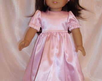 """18 Inch Doll Pink Satin Party Dress With Headband, 18"""" Doll Clothes, AG Doll Clothes, Girl Doll Clothes"""