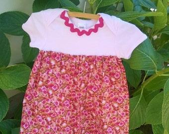 Onesie Dress ~ Girls Dress ~ Body Suit Dress ~ Baby Dress ~ Vintage Dress ~ Pink Dress ~ Size 1 ~ 12-18months