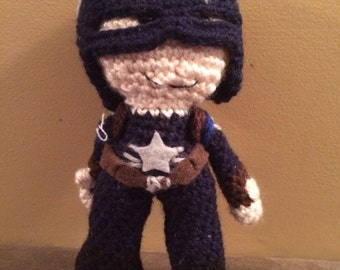 Ready to Ship Stealth Suit Captain America Inspired Amigurumi Doll