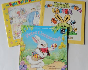 3 Vintage Childrens Easter books - Peter Cottontail, How Spider Saved Easter, The Night Before Easter - Kids Bunny Books Spring Reading Gift