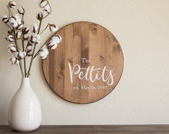 Rustic Name Sign - Last Name Established Sign – Name Wood Sign - Wood Family Name Sign – Wood Anniversary Gift - Personalized Wedding Gift