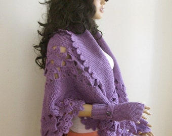 Beautiful Triangle Violet Shawl  and fingerless gloves.
