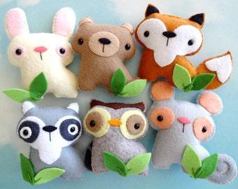 Felt Woodland Animal Toy Set Sewing Pattern - Tutorial - PDF ePATTERN - Raccoon, Fox, Bear, Bunny, Mouse & Owl