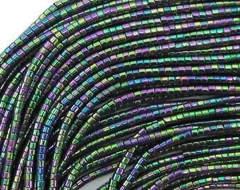 """1mm rainbow hematite tube beads 16"""" strand 33352"""