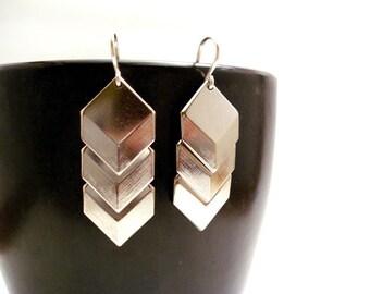 Moonlit Silver Geometric Earrings, Silver Chevron Earrings, Long Silver Earrings, Sterling Silver Earrings, Silver Statement Earrings