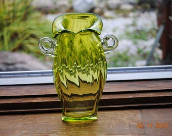 Micheal J. Mikula Signed Hand Blown Hanging Plant Rooter Vase in Bright Green
