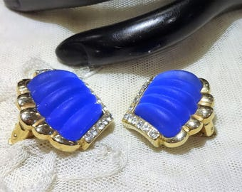 Pretty Vintage Cobalt Blue Glass and Rhinestone Earrings