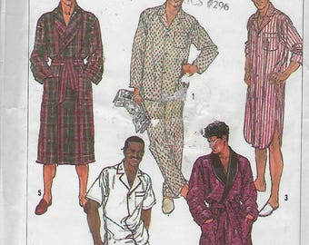 Simplicity 8323  Men's or Teen Boys Easy to Sew Robe And Pajamas in two lengths And Nightshirt  (Size Lg.)  UNCUT