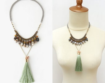 Banded Agate Bib Statement Necklace with Long Green Tassel, Fashionista Jewelry Accessories