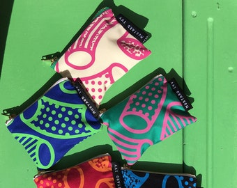 COIN PURSE Screen Printed Eco Friendly Zip Pouch Pink Jade Green Handmade in UK Abstract Colourful Bold Print Geometric Design
