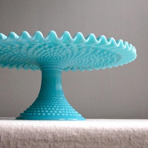 Like this item? & Vintage Fenton Turquoise Blue Hobnail Milk Glass Cake Stand