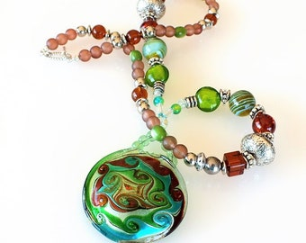 Lampwork Glass Swirl Turtle-back Medallion Pendant Necklace