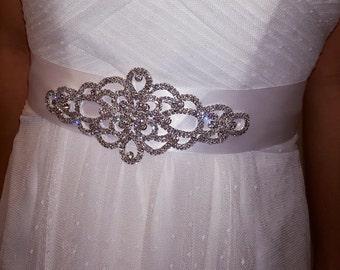 Rhinestone Bridal Sash, Bridal Belt, Bridal Sash, Wedding Sash, Rhinestone Belt, Wedding Dress Sash, Wedding Dress Belt