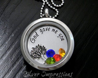 God gave me you  / Floating Locket / Charm Locket / Hand Stamped Jewelry / Charm Locket