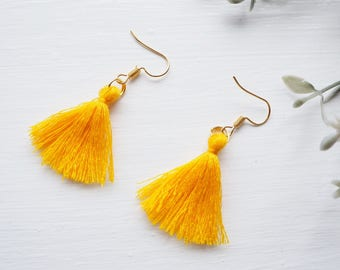 New statement mini fringe tassel earrings | boho tassel dangle drop earrings