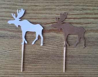 Moose Cupcake Toppers.  Calf Cupcake Toppers.  Moose Food Picks