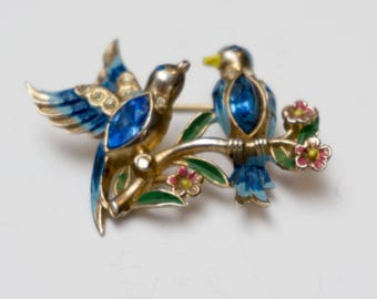 Vintage Coro Two Bluebirds on a Branch Figural Rhinestone Bill and Coo Brooch