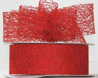 RED Mesh Ribbon- 20 yard roll   FREE SHIPPING