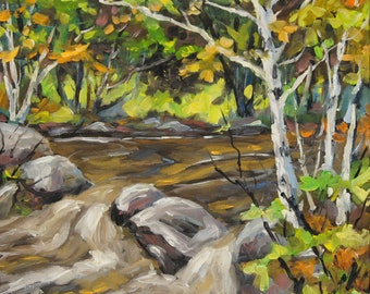 Northerm Stream Woodland - Small original Oil landscape painting created by Richard T Pranke
