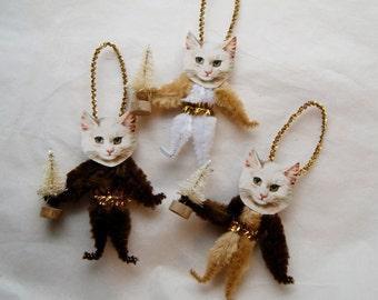 Christmas Chenille Cat Ornaments, Primitive Vintage Style Chenille Ornaments, Pet lover, 3 ornaments (21c)
