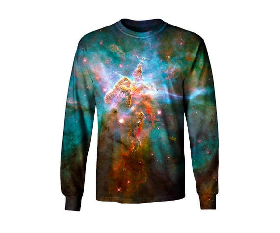 Space Artwork Long Sleeve T Shirt - All Over Print Galaxy Art - Trippy Festival Clothes XpEPSGn9