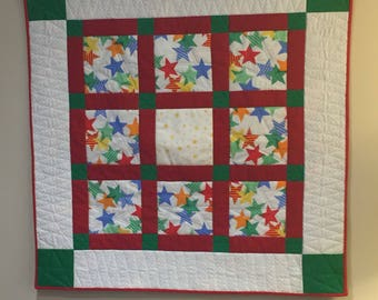 Star Baby Quilt, Wall Hanging, Play Mat