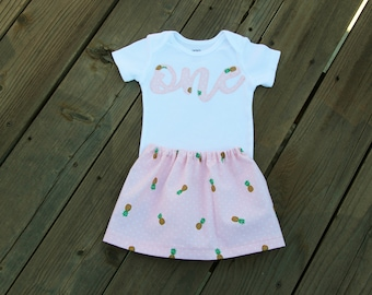 Pineapple First Birthday Outfit, Bodysuit and Skirt Set, Ready to Ship, Peach Colored Birthday Outfit