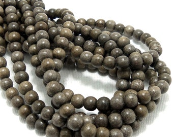 Graywood, 6mm - 7mm, Round, Smooth, Natural Wood Beads, Small, 16 Inch Strand - ID 1387