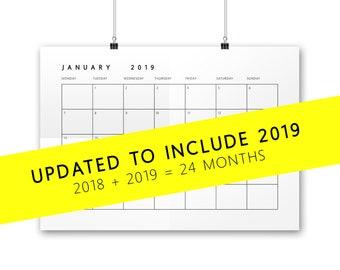 Printable 2018 AND 2019 Calendar - large desk calendar, printable planner, academic calendar, wall calendar, A4, A3 and US letter
