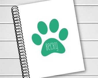 Personalized Notebook, Paw Print Spiral Notebook, Writing Journal (NB-020-PC)