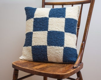"""Nautical Signal Flag """"N"""" Pillow Cover - knit in wool"""