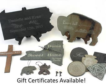 Laser Engraving for Bison Hill Stonecrafts products