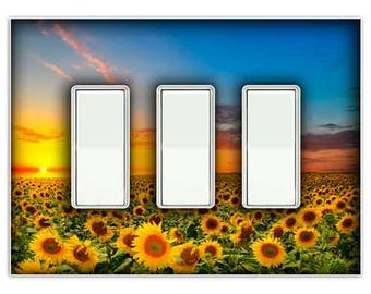 Sunflower Sunset Triple RockerDecorative Light Switch Cover